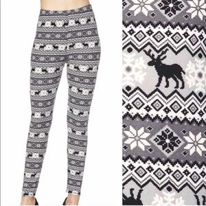 Reindeer Snowflake Black & White Leggings